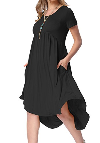 levaca Women Knit O Neck Short Sleeve Loose Casual Short Dress Deep Blue XL