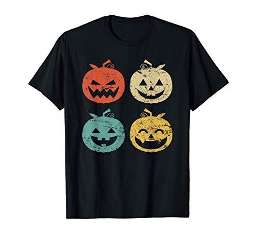 4 Calabazas Emoji Vintage Disfraz Halloween Hombre Mujer Camiseta