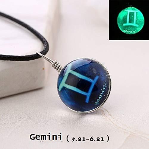 Collar De Mujer, Gemini Amuleto Resplandor En La Oscuridad 12 Constela