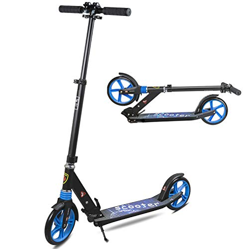 Yuanj Kick Scooter für Erwachsene/Teenager, Tretroller klappbar Kinder City Scooter ab 6 Jahre alt (Blue)