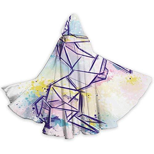 KDU Fashion Zauberer Mantel,Origami Horse Art Unisex-Umhang Mit Kapuze In Voller Länge Weiche, Bequeme Zauberermäntel Für Motto-Partys 40x150cm