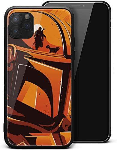 Fit Cell Case for iPhone 11 The-Mandalorian-Poster-Custom- Protector de protección unisex de vidrio templado negro antiarañazos, protector de golpes