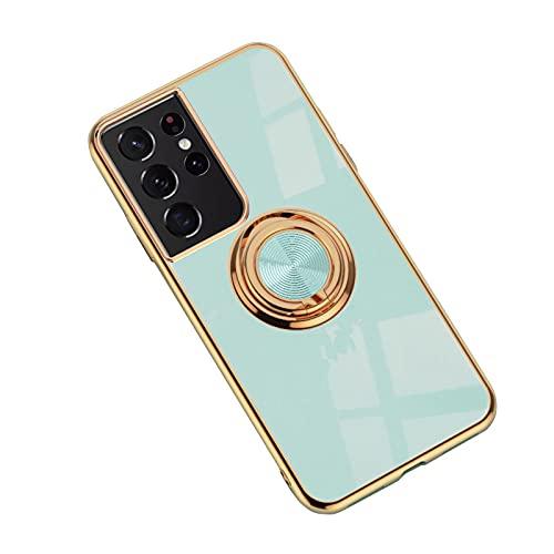 Galaxy S21 Ultra 5G クリアケース/カバー メッキ TPU 一体型スマホリング付き ソフト カバー 透明ケース/カバー サムスン ギャラクシー S21ウルトラ ソフトケースおしゃ れ アンドロイド スマフォ スマホ スマートフォンケース/