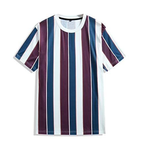 T-Shirt Top Männer Sommer Casual Jacke Lose Rundhalsausschnitt Gestreifte Kurzarmbluse (XL,7rot)