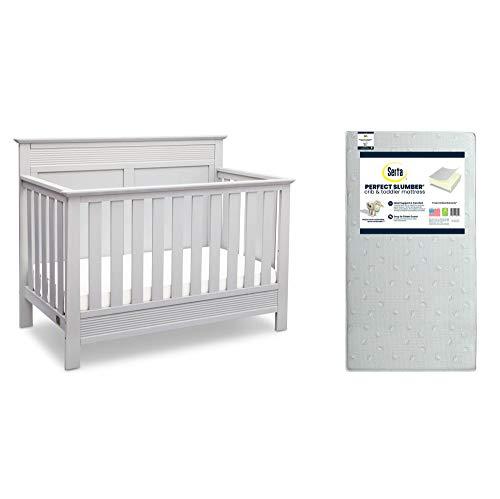 Serta Fall River 4-in-1 Convertible Crib, Bianca White + Serta Perfect Slumber Dual Sided Recycled Fiber Core Crib and Toddler Mattress (Bundle)