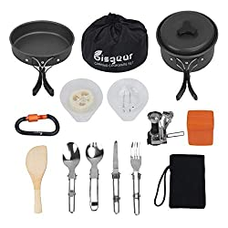 Image of Bisgear 16 Pcs Camping Cookware Stove Carabiner Bug Out Bag Cookset Folding Spork Set Outdoor Camping Hiking Backpacking Non-Stick Cooking Picnic Knife Spoon: Bestviewsreviews