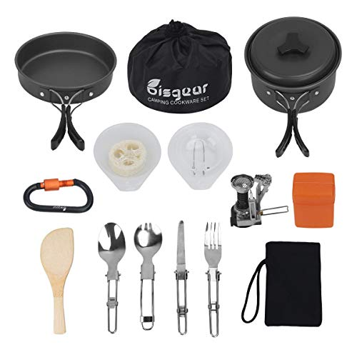 16pcs Camping Cookware Stove Carabiner Folding Spork Set Bisgear(TM) Outdoor Camping Hiking...