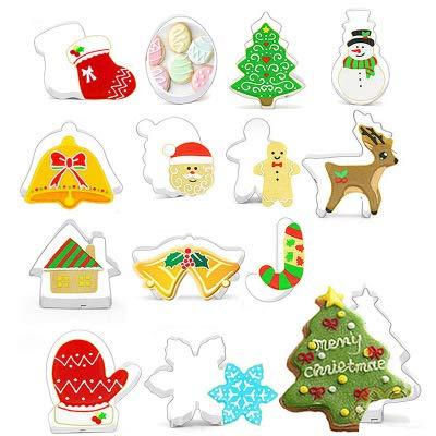Juego de cortadores de galletas de Navidad – 14 piezas de acero inoxidable para vacaciones de invierno fondant Moldes para hacer magdalenas, galletas, sándwiches