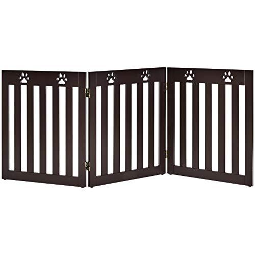 COSTWAY Barrera de Seguridad Plegable para Perros Mascotas Valla Protección para Habitación Puerta Escalera (Marrón, 3 paneles)