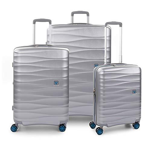 RONCATO Stellar - Juego de 3 maletas rígidas extensibles con 4 ruedas Tsa Silver