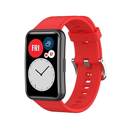 Dan&Dre Correas de Reloj,Pulsera de Silicona Suave,Correa de Silicona para Reloj Deportivo,Correa de muñeca Suave y Transpirable,Compatible con Huawei Watch FIT,Solo Correas,diseño poroso