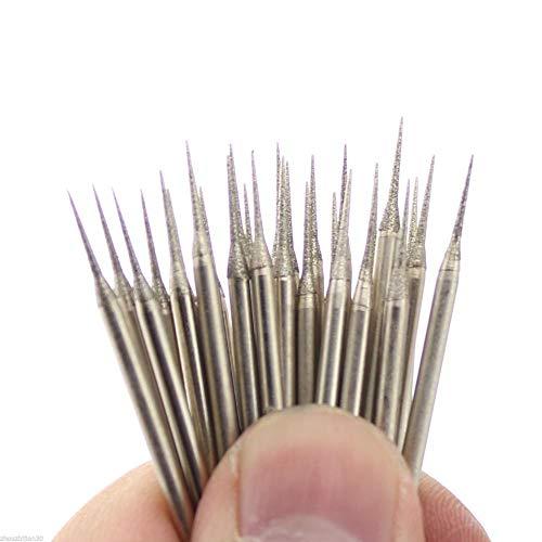 Juegos de brocas 30 piezas de 1 mm de puntas de aguja de pulido de diamante lapidario montadas punta cónica 10D9 gema