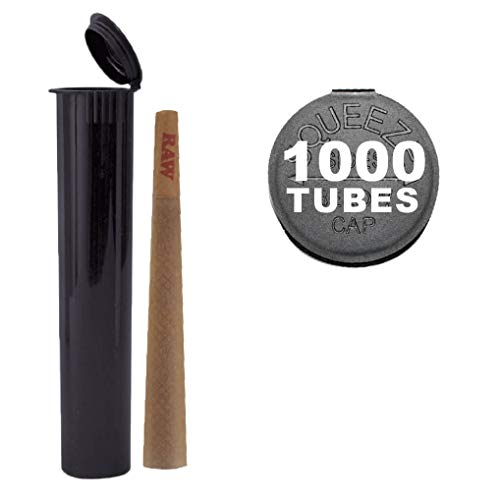 120MM Black Doob Tubes | 1000 Bulk Pack | Waterproof Airtight and Smell Proof Blunt Vial Container | Child Resistant with Squeeze Pop Tops | BPA-FREE | Ideal for Storing King Size Pre Rolled Raw Cones