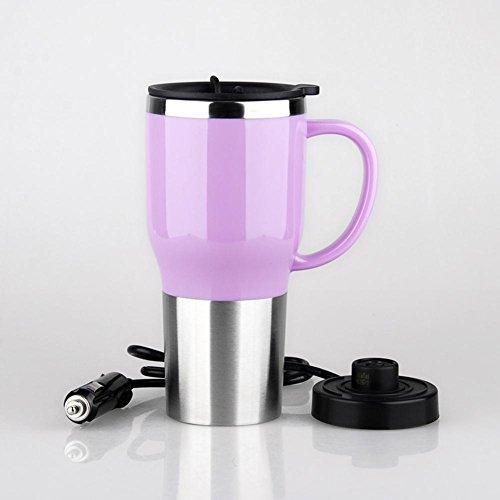YliJke taza de carga del coche Taza eléctrica de viaje Botella de agua de acero inoxidable Frascos de café 450 ml, Pink, 12v