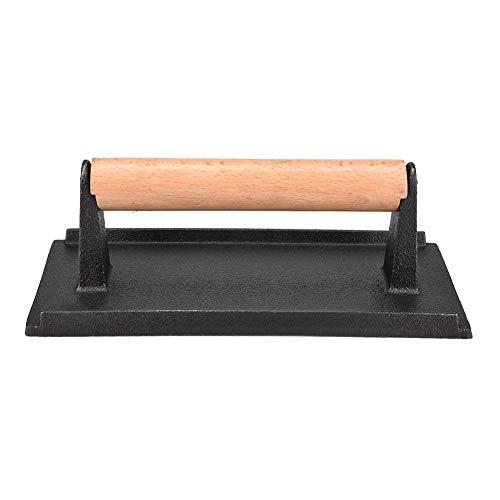Pressa per bistecca in ghisa commerciale Peso Manico in legno Pressa per hamburger Pressa per pancetta resistente Pressa...