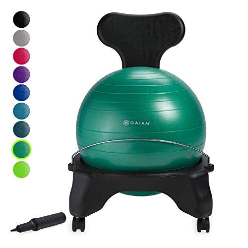 gaiam Klassischer Balance-Ballstuhl – Übungs-Stabilität Yoga-Ball Premium...