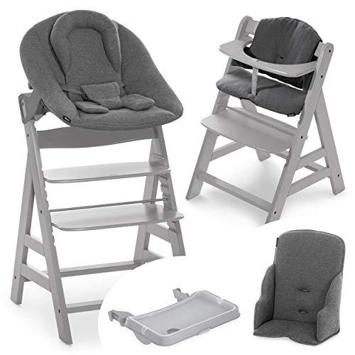 Hauck Baby Hochstuhl Alpha XXL Set ab Geburt - mit Neugeborenenaufsatz, Essbrett und Sitzverkleinerer/Mitwachsender Holz Babystuhl mit Liegefunktion und Sitzauflage - Grau Dunkelgrau
