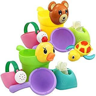 Zpong 9Pcs/Set Baby Bath Toys Rubber Lovely Shape Waterwheel Water Spray Set for Baby Shower Swimming Bath Toys Kids Gift ...