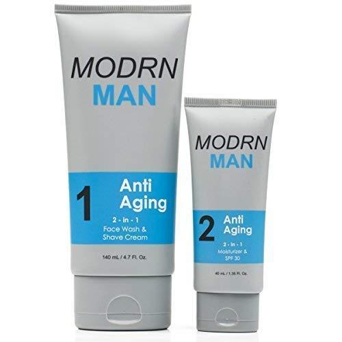 MODRN MAN Anti Aging Skin Care Set For Men | Ultimate Combination MenÕs Face Wash & Shaving Cream | Premium All-in-One MenÕs Anti Aging Moisturizer Cream with SPF 30