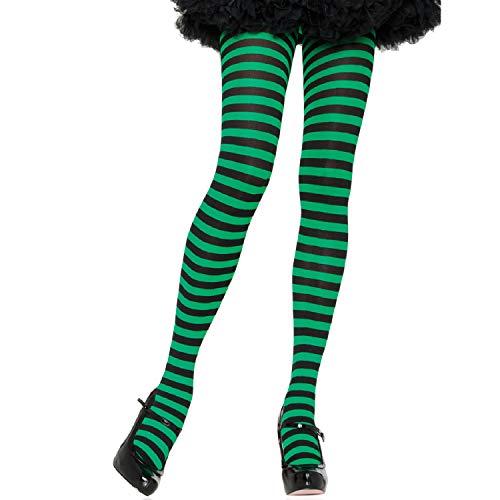LEG AVENUE 7100 - Blickdichte Ringel-Strümpfhose Kostüm Damen Karneval, Einheitsgröße, schwarz/kelly grün