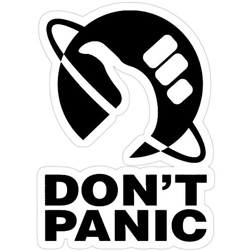 Sticker Vinyl Decal for Cars, Water Bottle, Fridge, Laptops Don't Panic - Hitchhikers Guide Stickers (3 Pcs/Pack)