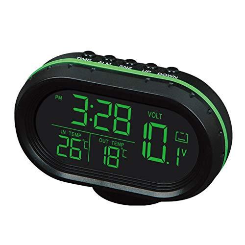 YXDS Reloj de Temperatura multifunción para Coche, voltímetro, termómetro para Coche, Reloj electrónico, Reloj de luz Nocturna para Coche, Suministros