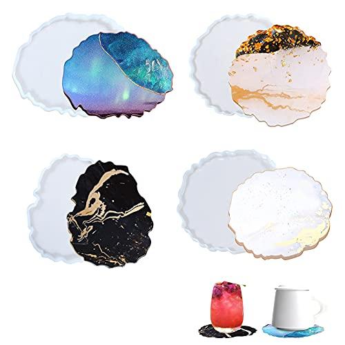 ETHEL Sottobicchieri in Resina,4 Pezzi Stampi Silicone Coaster,Irregolare Stampo Sottobicchiere,per Decorazione Domestica Mestiere Fai da Te,Resina per Creazioni