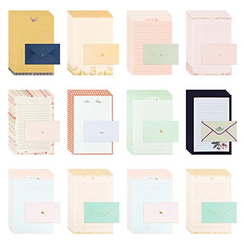 108 Pcs Papel Cartas y Sobres Papel Pequeños Papel de Carta con Sobre Papel de Carta para Escribir A5 Papel de Carta Infantil, Papel para Escribir Cartas 21*14.5cm, Sobres 15*9cm (10 Estilos)