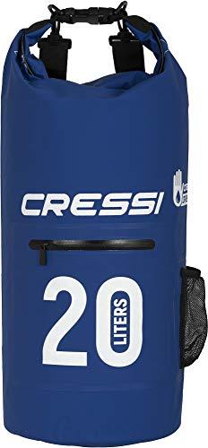 Cressi Dry Bag Mochila Impermeable para Actividades Deportivas, Unisex Adulto, Azul (Blue/Zip), 20 L