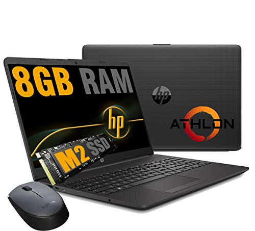 Notebook HP 255 G8 Pc portatile,Display HD 15.6 ,Cpu Amd Athlon,fino a 2,60 GHz,Ram 8 GB DDR4 ,SSD M.2 Nvme 256 Gb, Bluetooth, WIFI,Porta Lan RJ-45,Windows 10 Pro Pronto All uso + Mouse Wifi Logitech