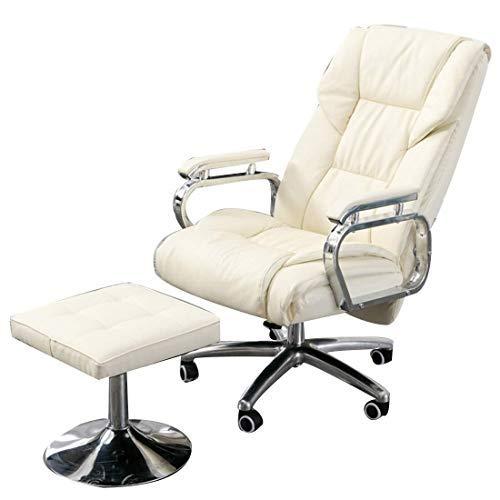 Gooxiaomei Bureaustoel, aluminiumlegering, voeten, leer, kunstleer, met vaste armleuningen omhoog en omlaag kan worden gedraaid wit