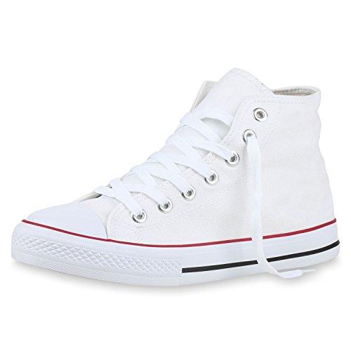 SCARPE VITA Damen High Top Sneakers Stoffschuhe Trendfarben Sportschuhe 132508 Weiss Total 45