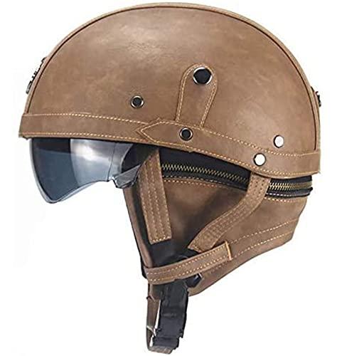 ZLYJ Medio Casco De Cuero para Motocicleta, Certificado ECE, Gorro Retro De Cara Abierta, Casco De Caballero Militar, Aviador, Visera Solar C,56-60cm