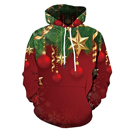 SHUAIFA Unisex 3D Graphic Christmas Pullover Sudadera con capucha roja