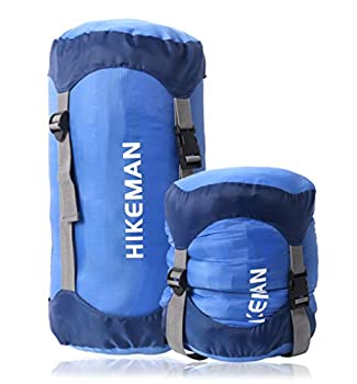 HIKEMAN Sac de Couchage de Compression Ultra léger pour Camping, randonnée, Voyage (Bleu, M)