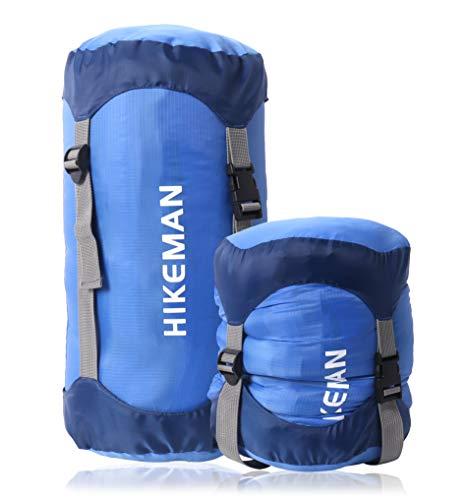コンプレッションバッグ 寝袋用 圧縮袋 軽量 圧縮バッグ 収納袋 防水 キャンプ アウトドア 調整可能 耐摩耗 丈夫 コンプレッションサック スタッフバッグ 寝袋用スタッフサック シュラフ収納袋 (ブルー, XL)