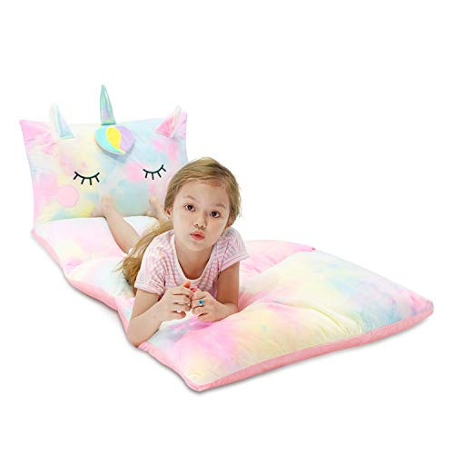 Yoweenton Unicorn Kids Floor Pillows Bed Seat Cover Queen Size Fold Out Lounger Chair Bed for Boys Girls Floor Cushion for Kids Room Decoration Cover ONLY
