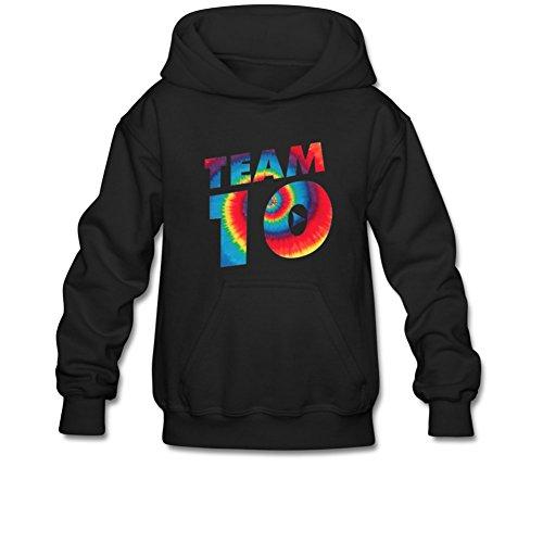 Aliensee Youth Tie Dye Jake Paul Team 10 Hoodie Sweatshirt Suitable For 10-15yr Old L Black