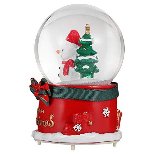 VOSAREA Weihnachten Schneekugel mit Musik Licht beleuchte Schneewirbel Schneemann Glitzerkugel Schüttelkugel Glas Dekoration Schneeball Snow Globe Traumkugel Tischdeko