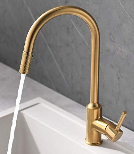 QD Wasserhahn Küche Gold Mischbatterien fuer Kueche Armatur Einhandmischer für Küchen Spüle