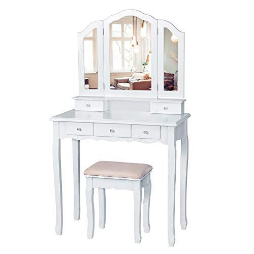 Tiptiper Vanity Set with Cushioned Bench, Makeup Vanity Table with Tri-Folding Necklace Hooked Mirror, Dressing Table with 5 Drawers for Cosmetics Storage, White