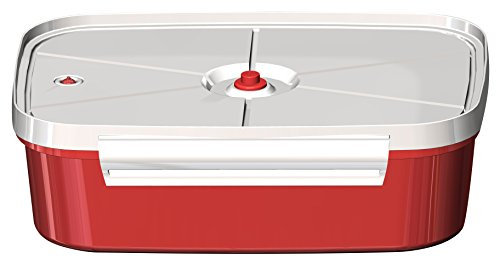 Jaccard Speedy Plus Instant Marinater, 6 X 9 Inch, Red/White – 5 Minute Vacuum Marinade Container. Dishwasher Safe