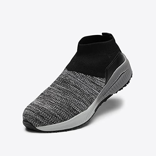 [丸五] 安全靴 スニーカー マンダムニットSOC 作業靴 マルゴ 安全シューズ 鋼製先芯 ミドルカットタイプ 普通作業 工場 耐油 滑りにくい 3E 幅広 男性 メンズ 女性 レディース(グレー_202 24.5cm)