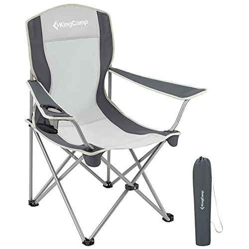 KingCamp Ultraleicht Campingstuhl Angelstuhl Faltbar Klappstuhl mit Netz Getränkehalter schwarz-Grau