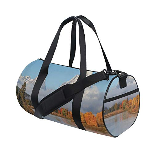 PONIKUCY Sporttasche Reisetasche,Herbst Schönheit in Grand Teton Oxbow Bend Natur Nationalparks Wyoming Landschaft,Schultergurt Handgepäck für Übernachtung Reisen