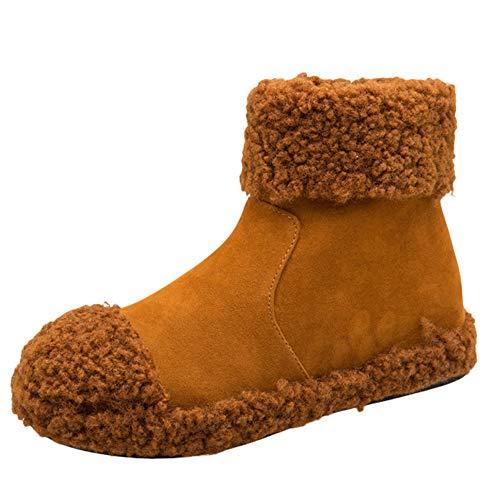 JERFER Frauen Wildleder Flache Runde Zehe Keile Schuhe Behalten Warm Reißverschluss Plüsch...