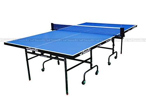 Suzuki Table Tennis Set with Net Paddles and Balls Standing Table (9FT X 5 FT - Blue)