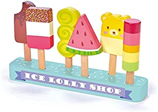 Tender Leaf Toys - Ice Lolly Shop - 7 Pieces Pretend Food Play Toy with Wooden Popsicle Ice Cream Bar - Encourage Role Play and Develops Social Skills for Children 3+