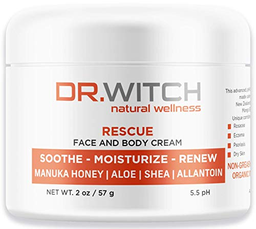 Natural Organic Healing Moisturizer with Raw Manuka Honey - Ideal for Redness Rosacea Eczema Acne Dry Skin Treatment – Unscented Non Greasy Anti Aging Anti Wrinkle (2 oz)