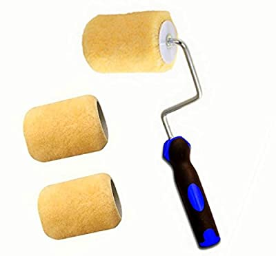 """3"""" Mini Paint Roller 3"""" (4-wire Cage) Frame with 3 Covers for Painting Trims, Edges, Corners, Small Areas"""